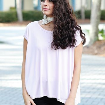 Lilac Satin PIKO Rolled Sleeve Tee