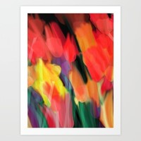 Meadow Flowers At Night Abstract Art Print by Jen Warmuth Art And Design