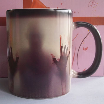 The Walking Dead Mugs Color Change Ceramic Coffee Mug and Cup Gift Heat Reveal Magic Zombie Mugs