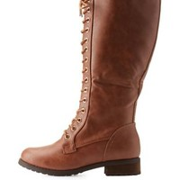 Rust Adriana New York Lug Sole Tall Combat Boots by Charlotte Russe