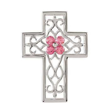 Sterling Silver Genuine Pink Tourmaline Filigree Cross Pendant