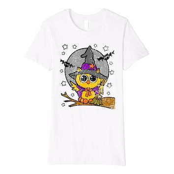 Funny Distressed Halloween Moonlight Owl Bat Witch Tee Shirt
