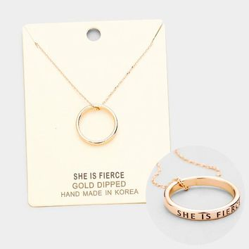 'She Is Fierce' Gold Dipped Ring Metal Pendant Necklace