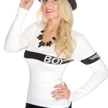 White Black Knitted Two Tone Long Sleeve Sweater Top
