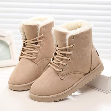 2016 Winter Woman Boots Lace-up Solid Flat Ankle Boot Casual Round Toe Women Snow Boot