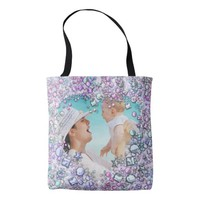 Custom Photo Chic Diamond Pattern Tote Bag for Mom