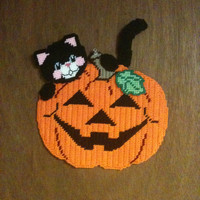 Black Cat with Pumpkin Wall Hanging Needlepoint Plastic Canvas