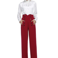50's Vintage Style High Waist Double Buttoned Front Red Wide Leg Cuffed Pants