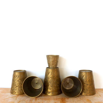 Etched Brass Shot Glass Set Bar Accessories India Brass Cups 1940s Group Serving Brass Bar Ware
