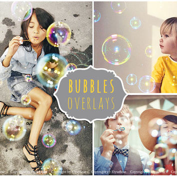 Bubbles Photoshop Overlays: Realistic Soap air bubble Photo effect layer, Outdoor mini Sessions with kids, Professional Retouching