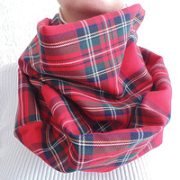 Red Plaid Scarf, Red Tartan Scarf, Fall Scarf, Womens Scarf, Plaid Infinity Scarf, Christmas Gift, Oversized