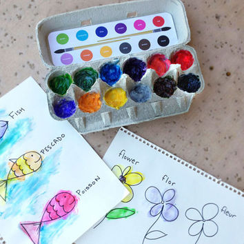Paint Palettes (set of 3: English, Spanish and French) DIY Recycling Craft Kids Stickers