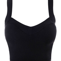 Clothing : Crop Tops : 'Georgia' Black Cut Out Bandage Crop Top