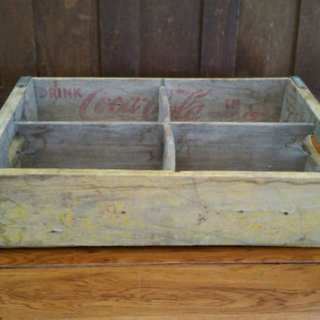 Vintage Yellow Coke Coca Cola Crate With Metal Strapping Great Advertising Graphics Storage Organization Decor Shelf