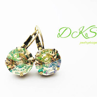 Luminous Green Vision, Swarovski 12mm Crystal Earrings, Lever Back,Ant Brass, Green, Flower,DKSJewelrydesigns