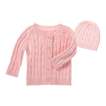 Blossoms & Buds Pink Cable-Knit Cardigan & Beanie - Infant | zulily