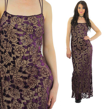 95dadaf0de1 Velvet burnout dress sheer lace maxi 90s Grunge deep purple spaghetti strap  Deep V plugging open