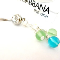 Frosted Blue and Green Sea Glass Beaded Dangle Belly Button Ring, Beach Jewelry
