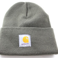 Carhartt USA Basic Cuff Ribbed Men's/Women's Olive Green Winter Beanie Hat