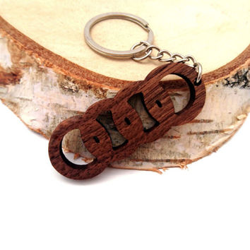 Wooden Audi Logo Keychain, Car Accessories Keychain, Audi Cars, Walnut Wood, Friendly Green materials