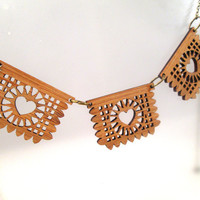 Bamboo Papel Picado Banner Necklace