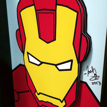Iron Man Comic Art 3D Pop Art Superhero Comic Book Movie Poster Marvel Artwork