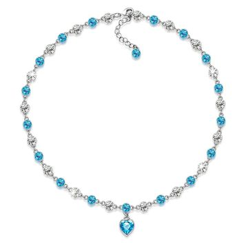 """""""AngelicTale"""" Aquamarine All-Around Necklace Made with SWAROVSKI Crystals, Collar Necklace, chic heart necklace, birthday gifts anniversary gifts for her, gifts for mom"""