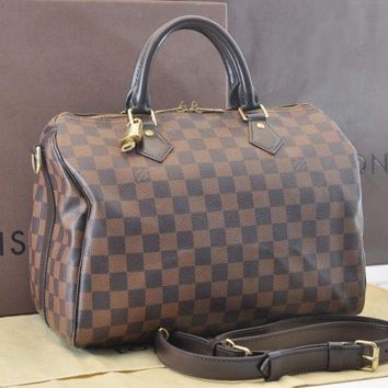 Authentic Louis Vuitton Damier Speedy Bandouliere 30 Hand Bag N41367 #sa391