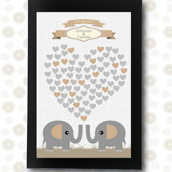 Wedding Guest Book unique guestbooks Elephant signature / printable pdf / groom gift alternative ideas friends family hearts personalized