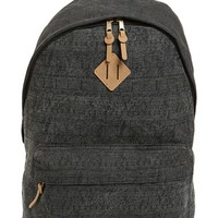 Men's Topman Geo Print Canvas Backpack - Black