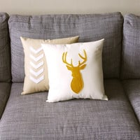 Mustard & Natural Decorative Deer Pillow  - 14X14 - yellow and beige
