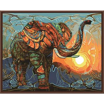 Frameless Elephant DIY Painting By Numbers Animals Vintage Painting Acrylic Picture Home Wall Art Decor Unique Gift Wall Artwork