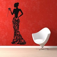 Wall Decor Vinyl Decal Sticker Fashion Dress Girl with Rose Kg465