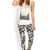 FOREVER 21 Soft Floral Leggings Black/Multi Small