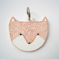 Fox Head Keyring / Keychain - head face charm handmade decoration white bright orange mothers day birthday gift Christmas stocking filler