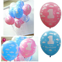 Pink/Blue Baby 1st Birthday Ballon Party Decor Girl Boy Printed Number 1 Ballons = 1945900996