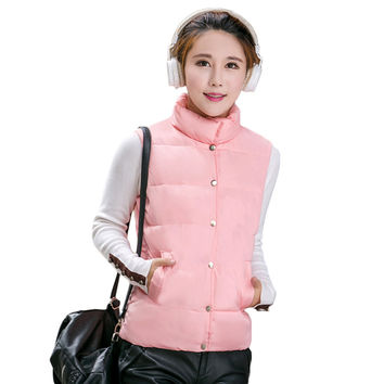 down jacket stand collar sleeveless women coat stud press pockets padded vest coat outerwear JFY66