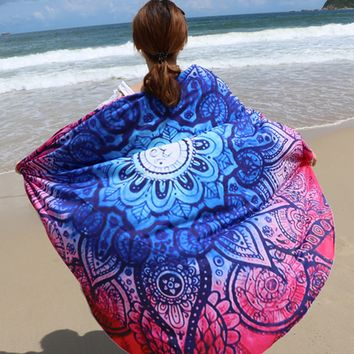 Print Mandala Roundie Round Beach Throw Tapestry, Hippy Boho Gypsy Cotton Table Cloth Beach Towel, Round Yoga Mat 12126 Diameter 145cm