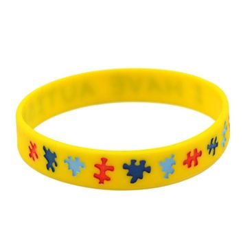 Autism Awareness  Print Alert Yellow Wristband Men Women Bracelet