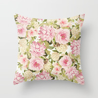 vintage peonies and hydrangeas Throw Pillow by sylviacookphotography