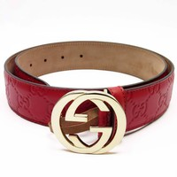 Auth GUCCI Guccissima Leather Belt Size: 85/34 Red/Goldtone Leather - h17896