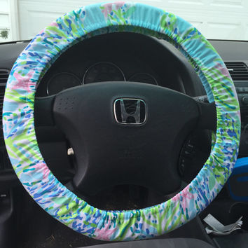 Steering Wheel Cover made with Lilly Pulitzer Sky Blue Blue Heaven Fabric - Summer 2015