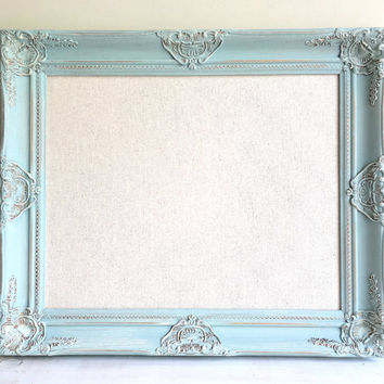 LINEN BOARD Pinboard Framed Cork Board Robins Egg Blue Framed Cork Board Teal Shabby Chic Decor Wall Decor Jewelry Organizer