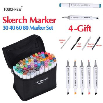 TOUCHNEW 30/40/60/80 Colors Dual Head Sketch Art Markers Alcohol Based Marker Set Best For Drawing Manga Design Art Supplies