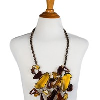 Burberry Yellow Amber Stone Bronze Chain Cluster Necklace