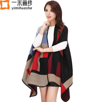 2016 Women winter fashion boho style plaid thick warm Poncho cashmere sweater Pashmina scarves and stoles oversized Blanket Wrap