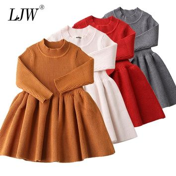 Baby Dresses For Girls Winter Long Sleeved Knit princess dress Lotus Leaf Collar Pocket Doll Dress Girls Baby Clothing