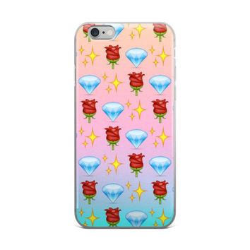 Glowing Stars Red Rose & Blue Diamond Emoji Collage Teen Cute Girly Girls Tie Dye Sky Blue & Pink iPhone 4 4s 5 5s 5C 6 6s 6 Plus 6s Plus 7 & 7 Plus Case