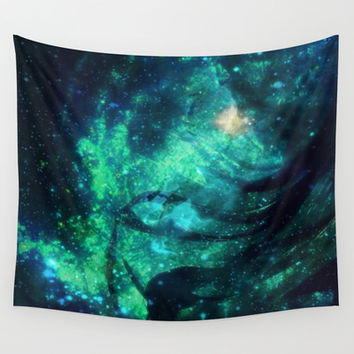 Turquoise Stars and Ribbons Wall Tapestry by Minx267