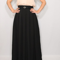 Maxi skirt Long black skirt Women skirt Chiffon skirt High waisted maxi skirt with pockets